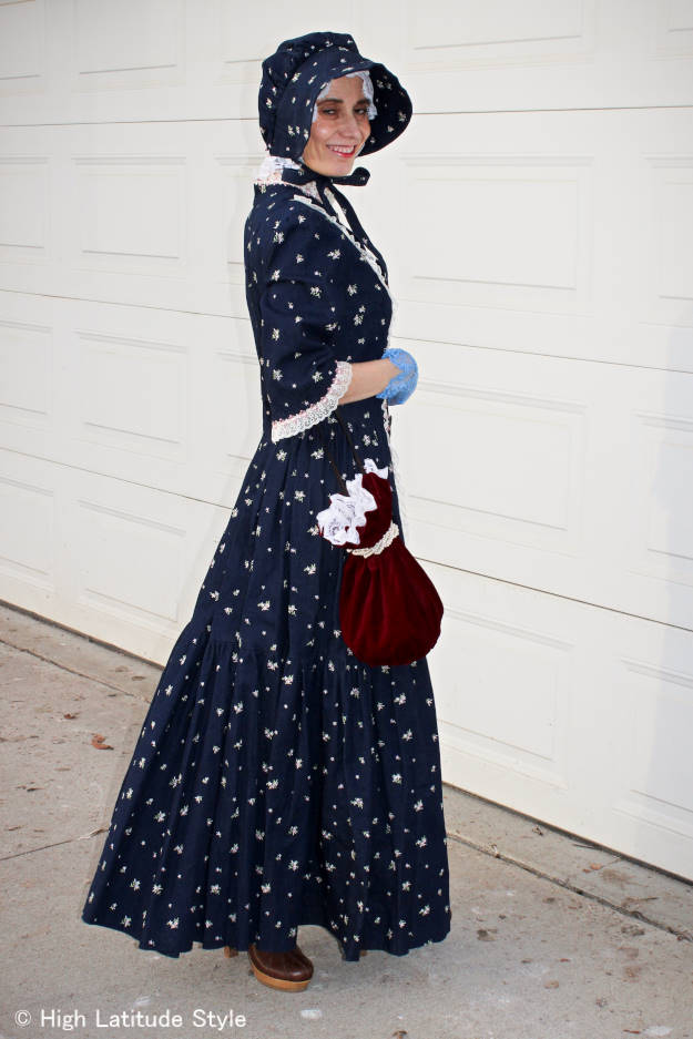 DIY costume with bonnet, lace gloves, and bucket bag