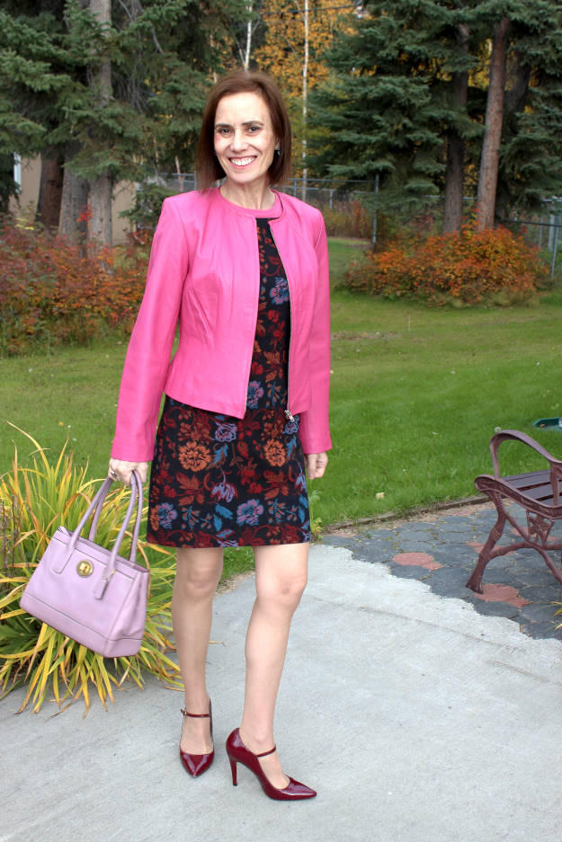 #fashionover50 work outfit with a tapestry sheath that has floral pattern in multiple colors