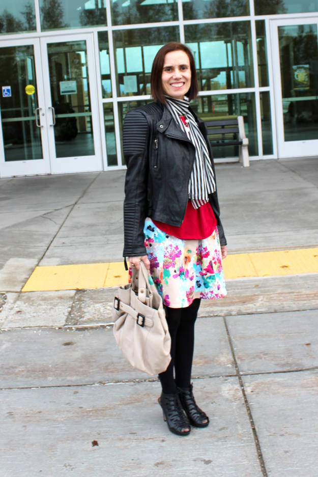 #styleover40 midlife woman in fall outfit with summer dress