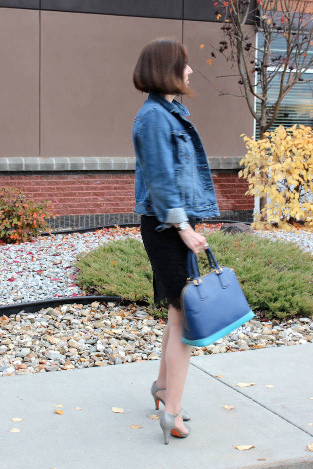 midlife blogger in denim with lace outfit