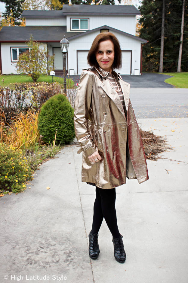 #maturefashion older woman in work outfit with golden leather coat