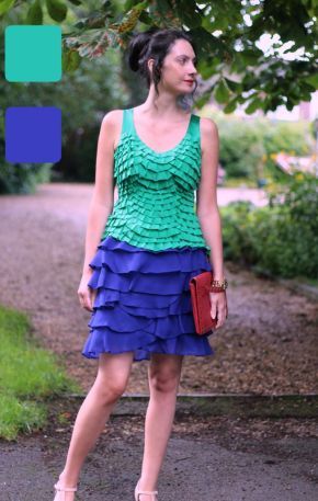 Example of analogous colors for skirt and top - Guest post by Lorna Mai