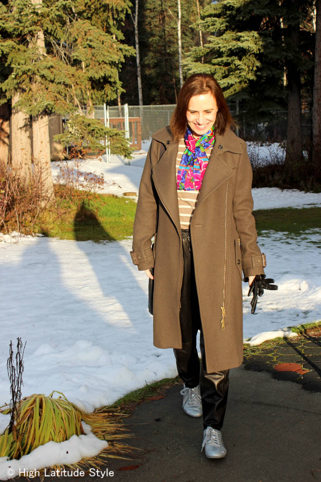 over 50 years old Alaskan fashion blogger in winter outerwear
