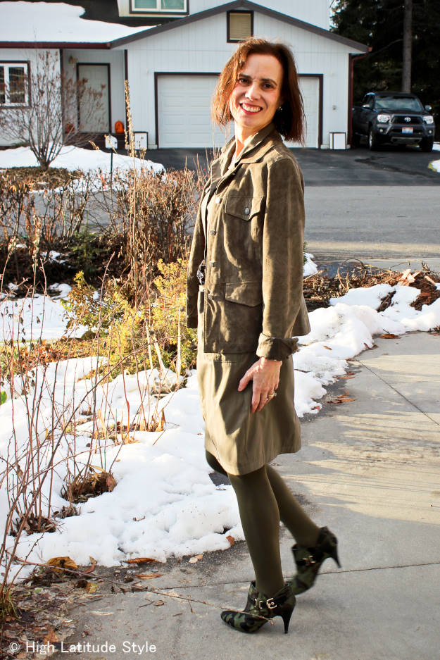 #fashionover40 mature woman in utility jacket