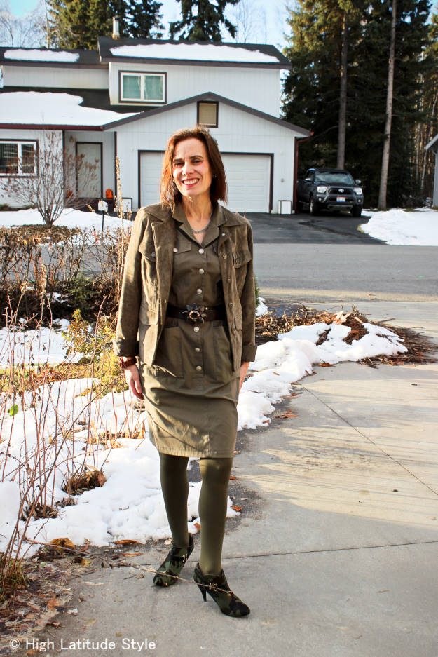 fashionover50 mature woman in a military inspired shirt dress