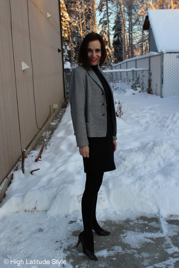 #fashionover40 mature woman in winter work outfit and opaque black tight