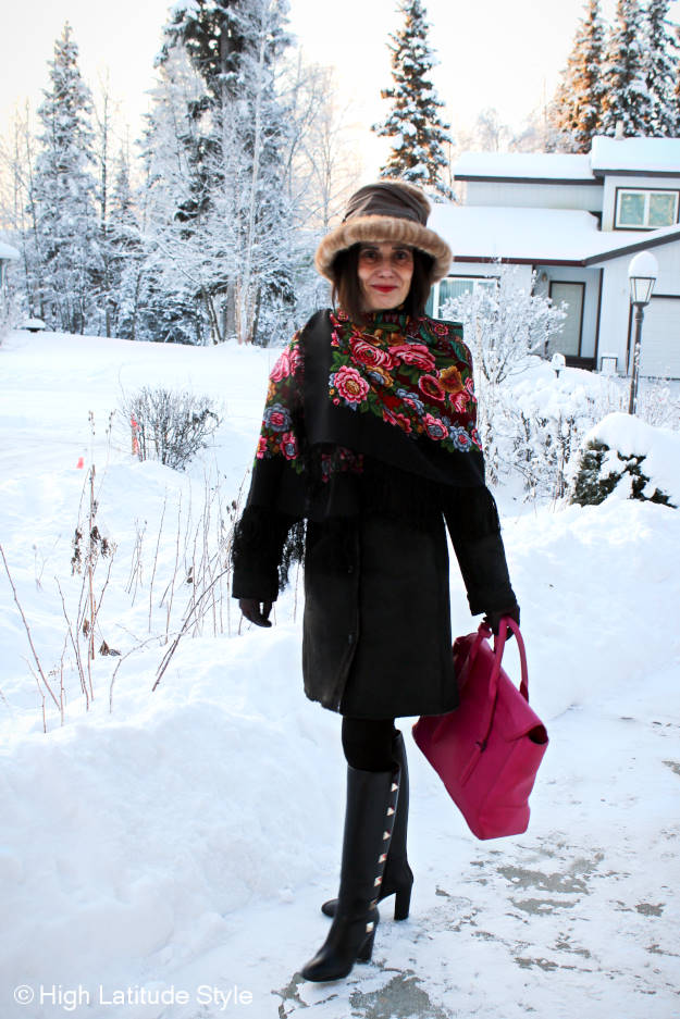 #styleover50 woman in stylish outerwear with Hanes shaping and smoothing tights