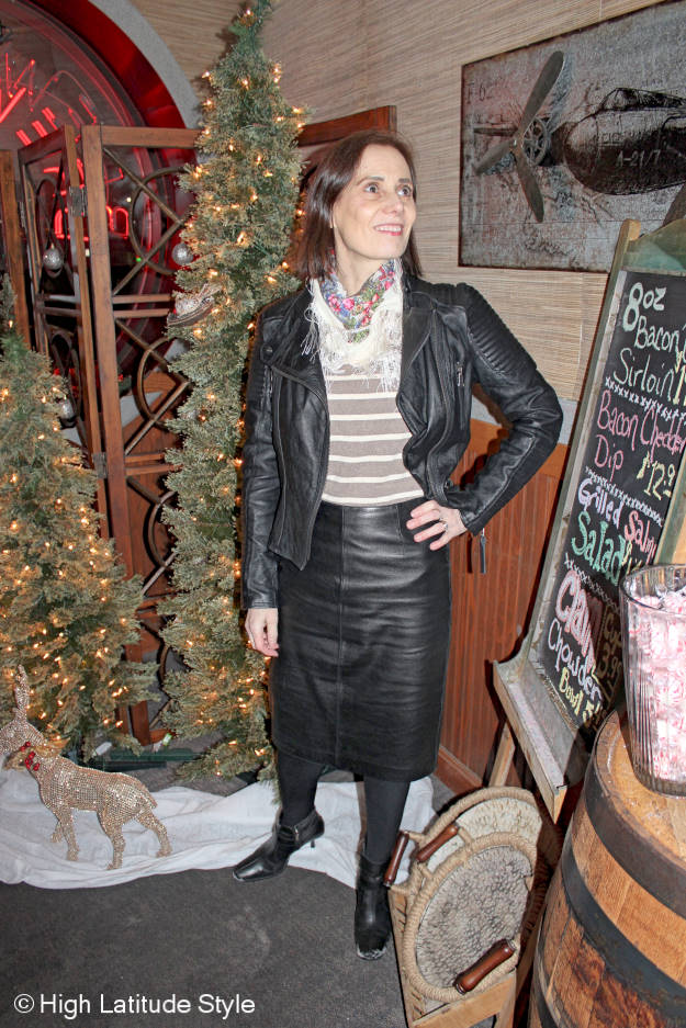 #styleover40 woman wearing leather on leather as a faux skirt suit