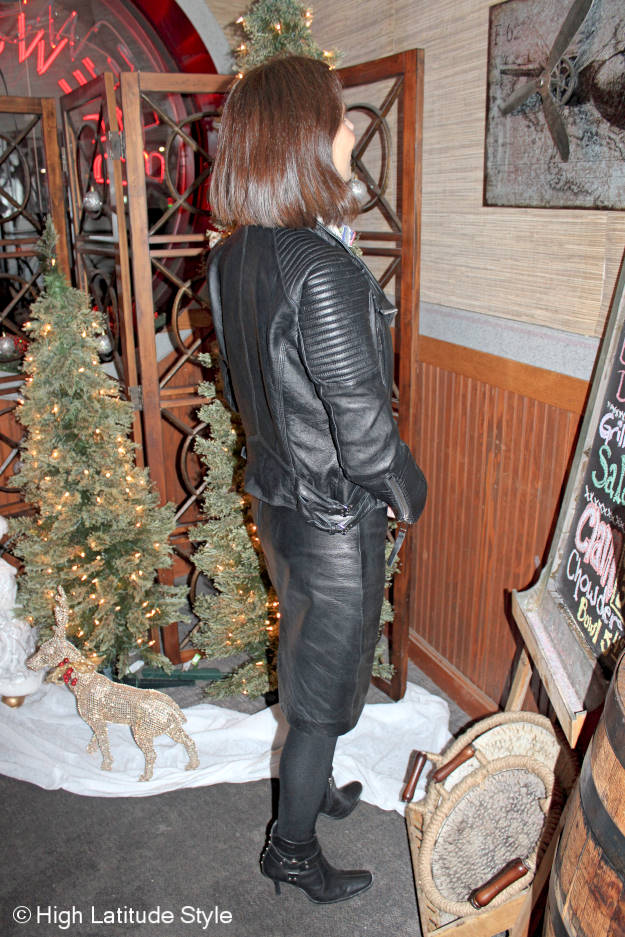 #fashionover40 #midlifestyle woman in a fake leather skirt suit