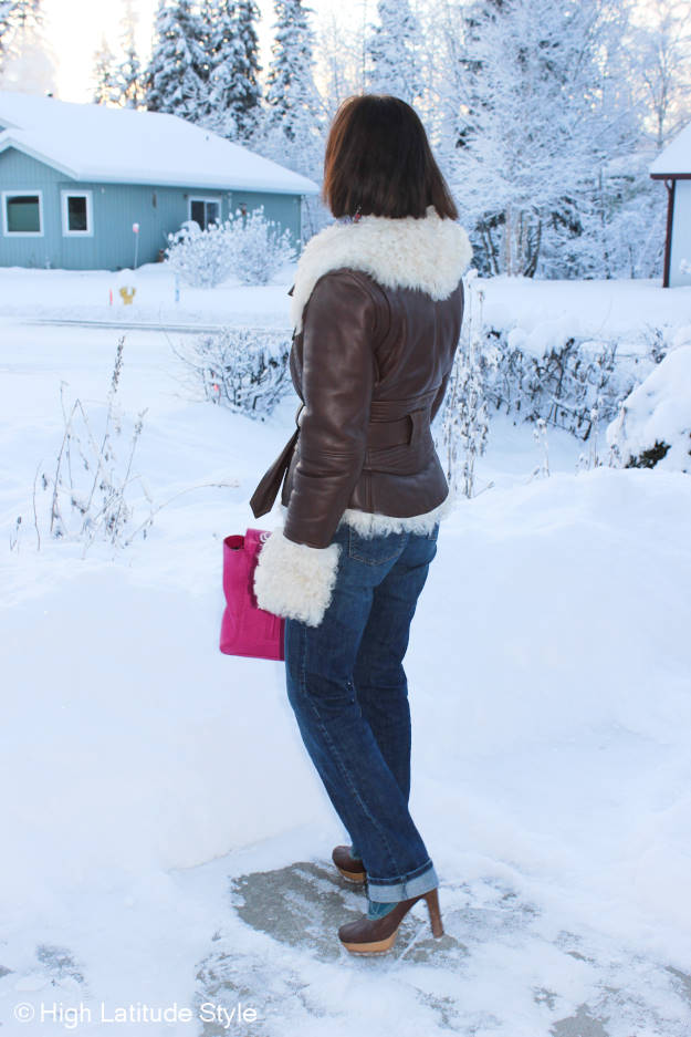 #agelessStyle midlife woman in chic casual winter outerwear