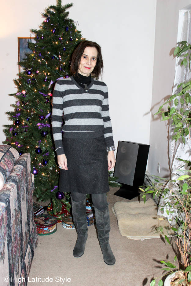 midlife woman looking chic in slouchy booties
