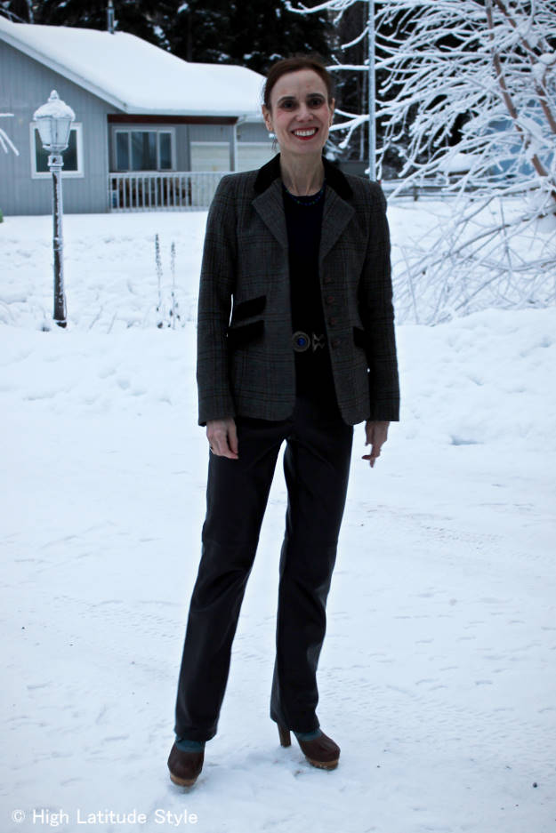 #fashionover40 Alaska winter casual work outfit @ High Latitude Style