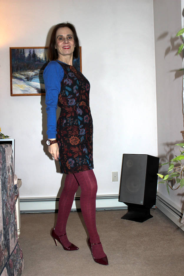 midlife woman in chic tights and dress