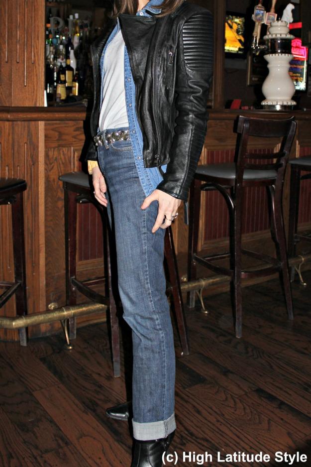 stylist in denim-on-denim with leather jacket