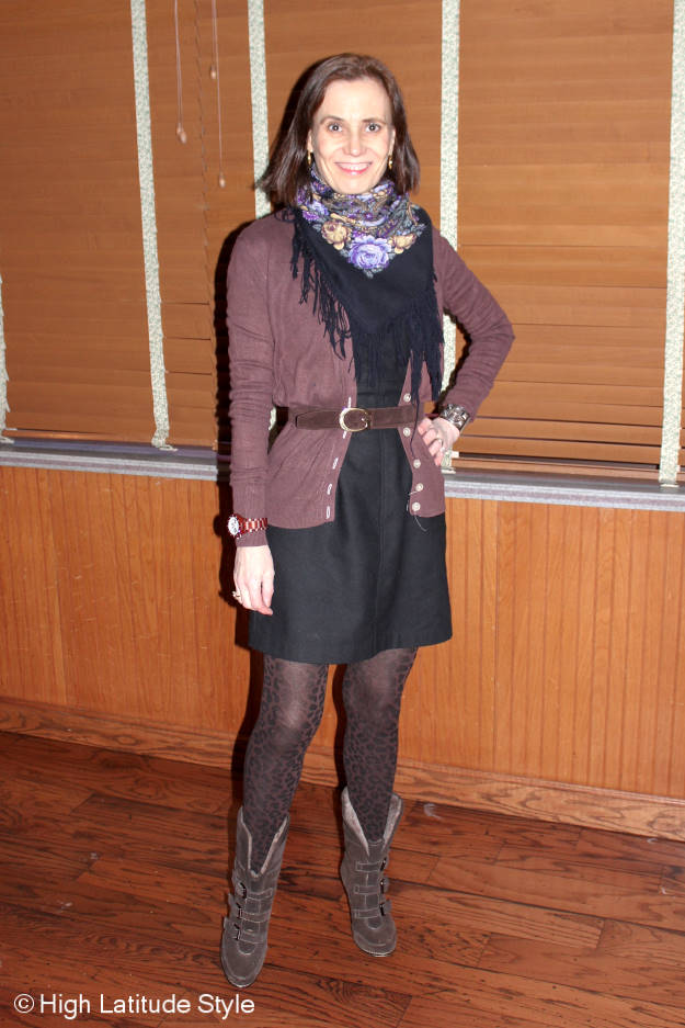 sheath with cardigan, scarf winter work outfit