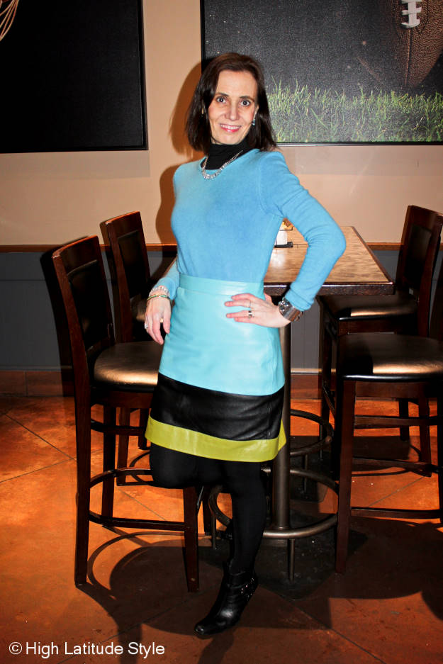 #Fashionover40 older woman wearing bold colors