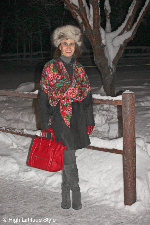 #maturefashion woman with Russian stole