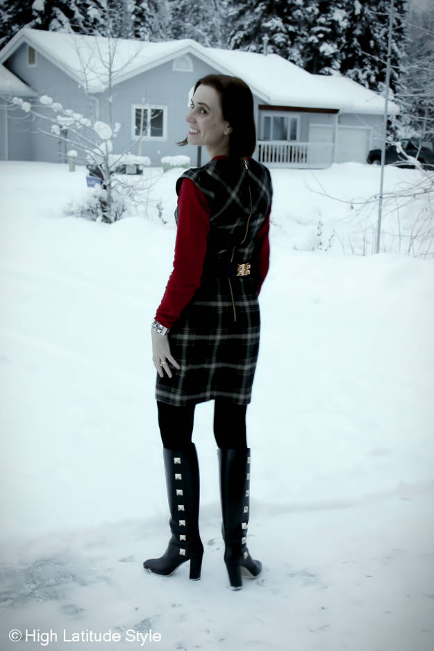 fashion blogger donning a sheath with sweater in Alaska