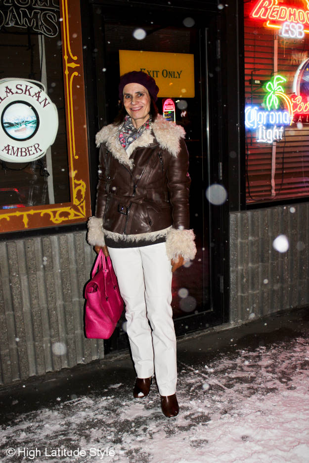 #fashionover40 winter outfit with motorcycle shearling jacket to stay warm at low temperatures