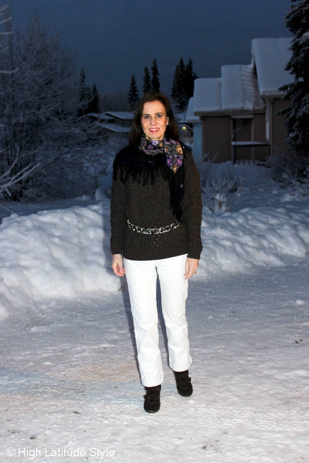 #fashionover40 casual outfit with white jeans in winter