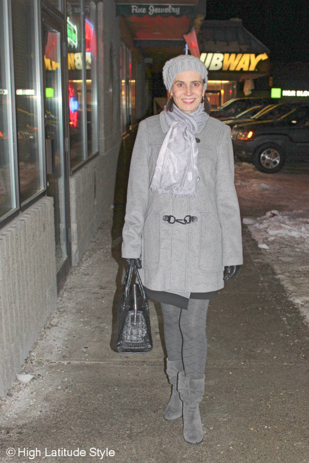 Fashion blogger donning all gray winter outerwear