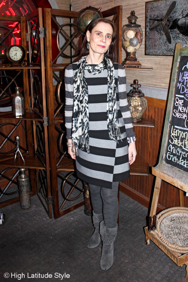 Fashionover50 mature woman in an all gray winter work outfit