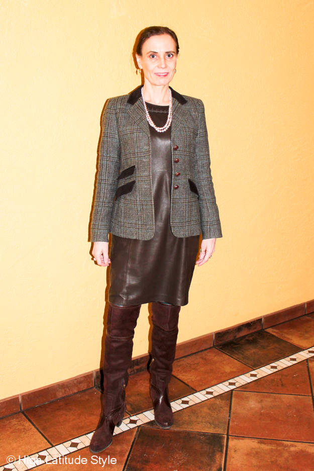 #fashionover40 Nicole of High Latitude Style wearing a leather jumper with sweater, OTK boots and blazer