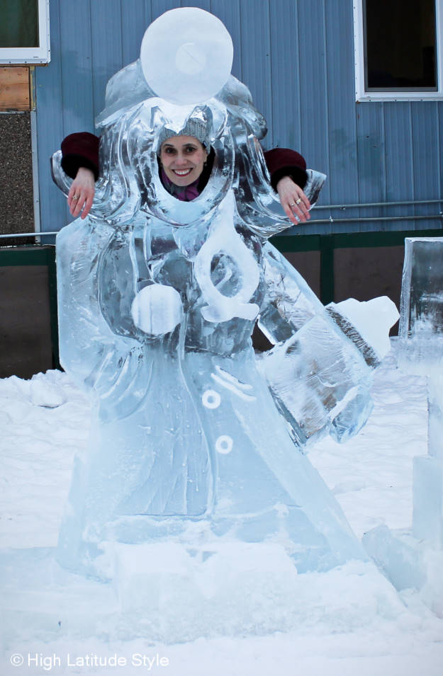 fashion ice sculpture at the BP Alaska Ice Classics