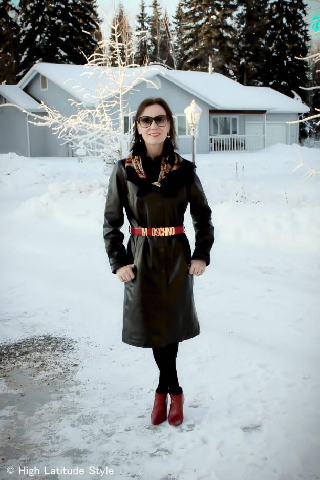 #fashionover40 leather shirt dress