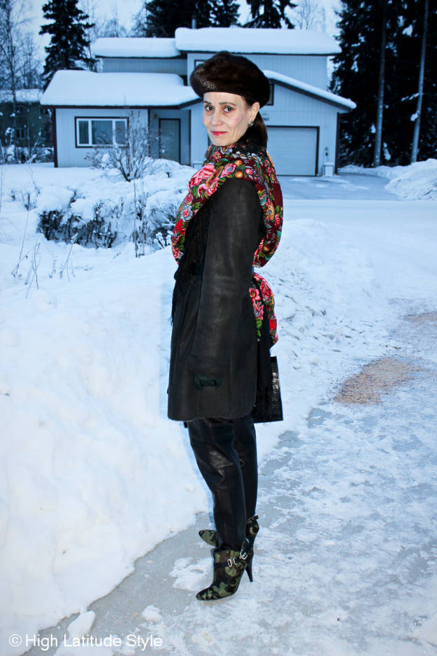#fashionover50 Winter outerwear with Russian scarf and beret style hat @ http://www.highlatitudestyle.com