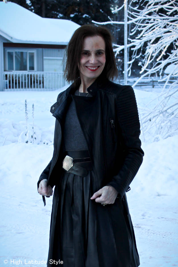 #over40fashion leather jacket with pleated leather skirt at the Top of the World Style linkup party at http://www.highlatitudestyle.com