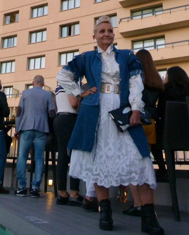 fashion over 40 woman in white dress and denim coat