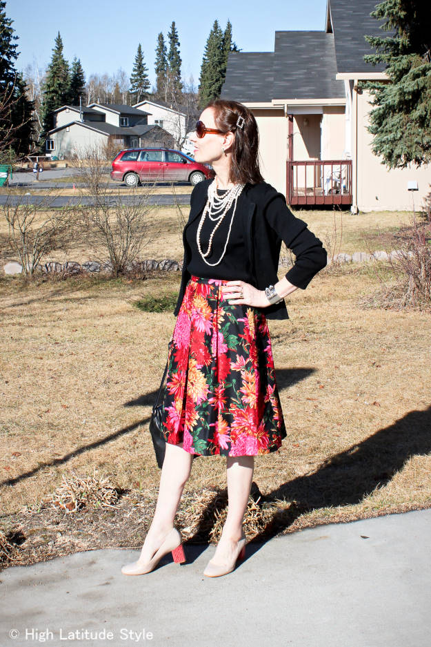 #fashionover50 #midlifestyle woman in chic work outfit accessorized with multiple pearl necklaces