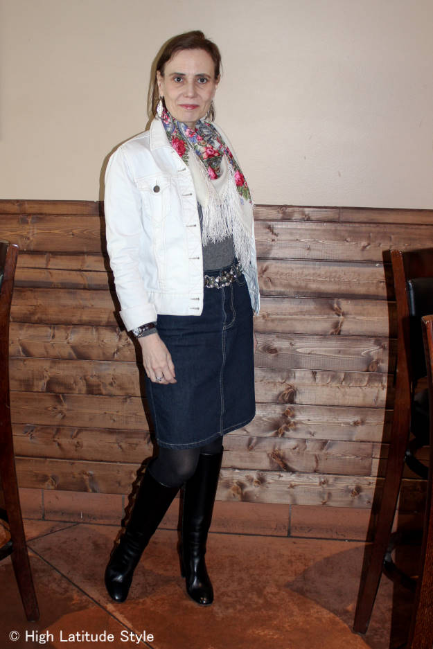 Nicole of High Latitude Style in denim skirt and jacket, tight, sweater, Russian cloth