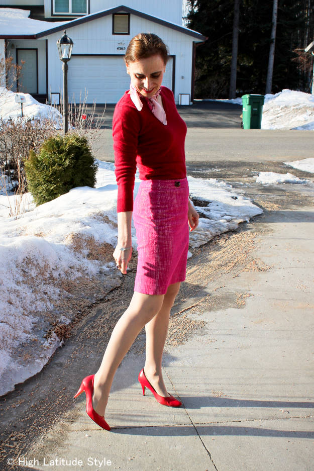 #fashionover50 red and pink spring outfit