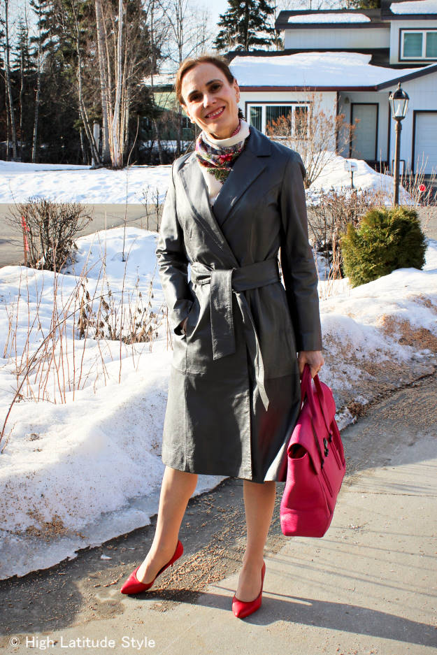 #styleover50 mature woman wearing a robe as spring outerwear