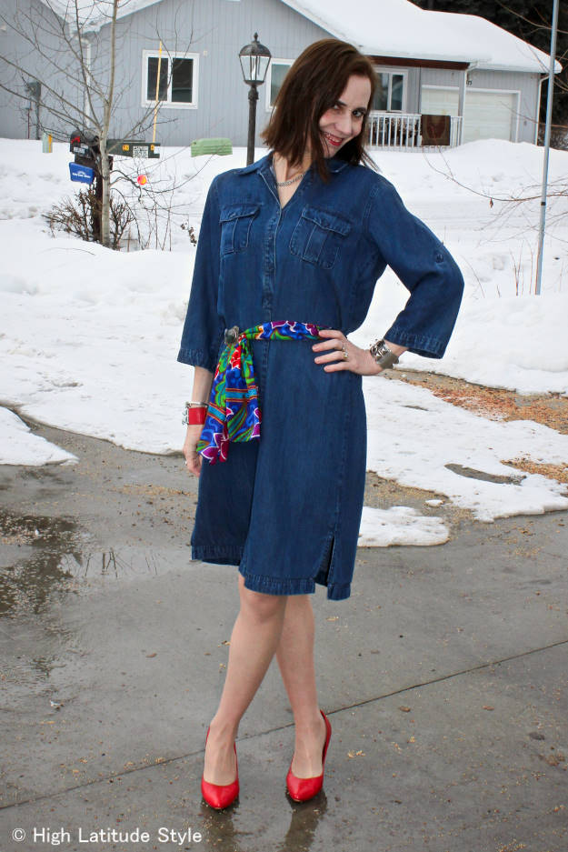 fashion over 40 Woman in denim dress