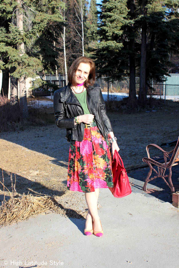 #fashionover40 floral print skirt toughed up with leather moto jacket