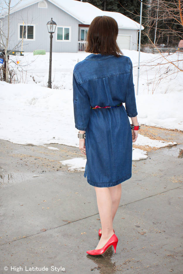 fashion over 40 woman in denim dress