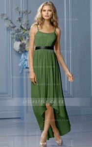 #AisleStyle natural A-line sleeveless chiffon bridesmaid dress