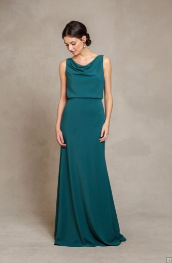 #AisleStyle Chic Cowl Neck Casual Style A-line Emerald Green Long Chiffon Bridesmaid Dress