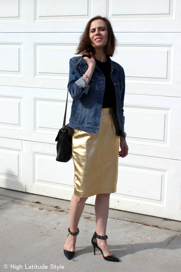 #fashionover50 denim jacket with leather skirt at http://www.highlatitudestyle.com
