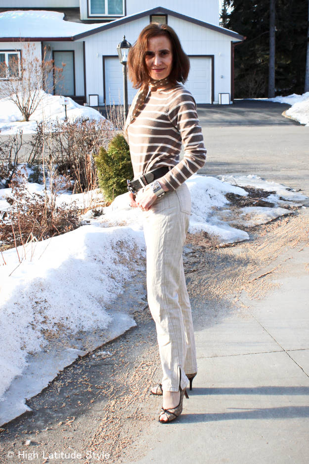 #fashionover40 casual spring outfit in Alaska @High Latitude Style