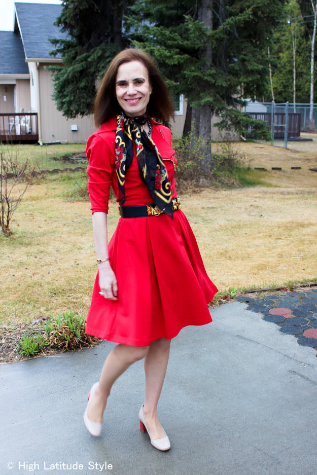 midlife blogger in a chic little red dress