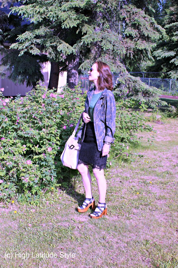 #fashionover50 mature posh outfit with lace skirt and camo jacket