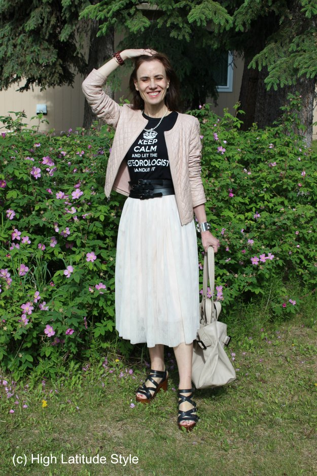 #agelessstyle woman in work outfit with graphic Tee
