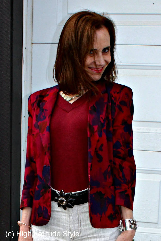 #matureStyle styling a floral blazer