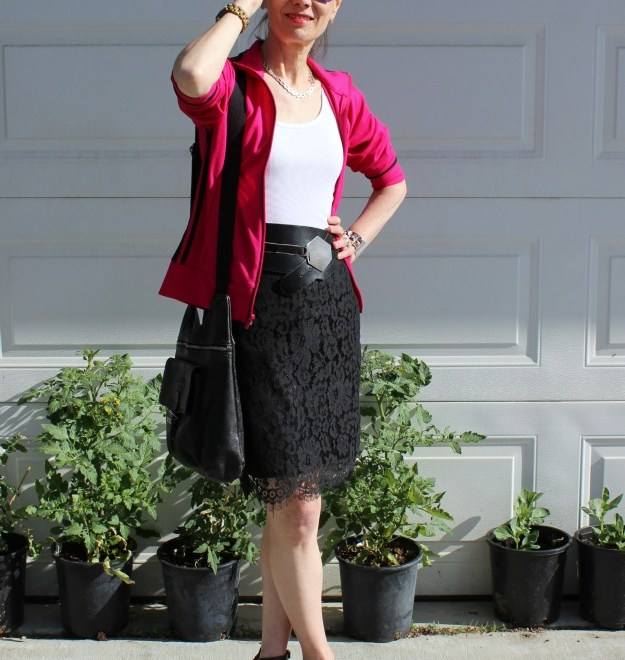 #fashionover40 #normacore mature woman wearing a skirt with a sport jacket