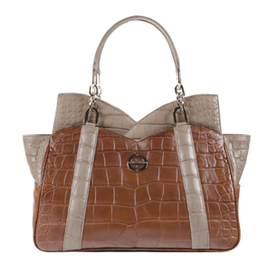 Farbod rsum Mona cognac taupe alligator bag