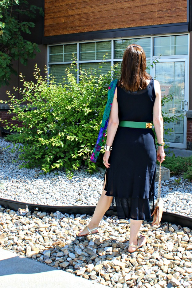 #styleover40 mature woman with LBD and green belt